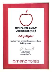 Omena Hotels palkinto 2020