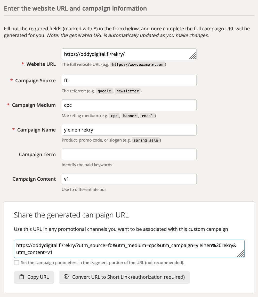Oddy Digital URL builder esimerkki